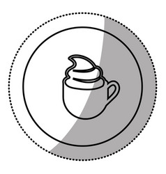 silhouette emblem cup coffee with cream icon vector image vector image