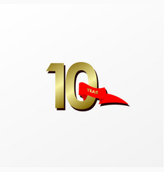 10 years anniversary celebration gold with red vector