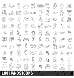 100 hands icons set outline style vector