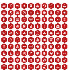 100 joy icons hexagon red vector