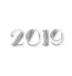 2019 glitter typography design silver sparkling vector image