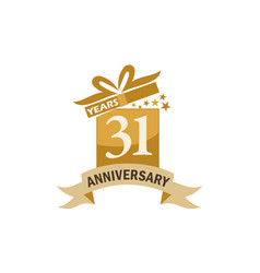31 years gift box ribbon anniversary vector