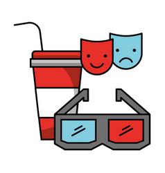 3d glasses soda cup cinema movie vector