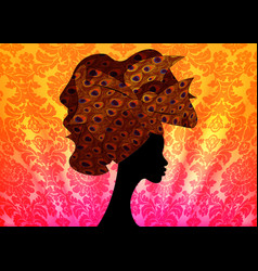 African woman in wedding hairstyle head wrap vector
