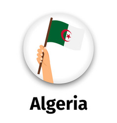 Algeria flag in hand round icon vector
