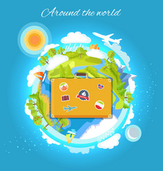 Around the world color card vector