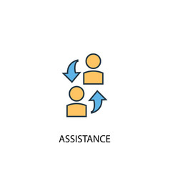 Assistance concept 2 colored line icon simple vector