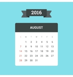 August 2016 Calendar vector image