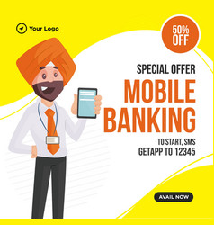 banner design mobile banking vector image
