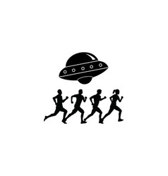 Black and white area 51 logo design vector