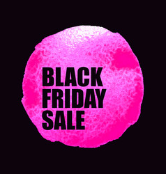 Black friday sale poster with pink watercolor spot vector