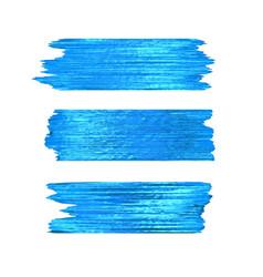 Blue glitter brushstrokes set isolated at white vector