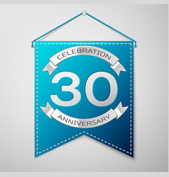 blue pennant with inscription thirty years vector image