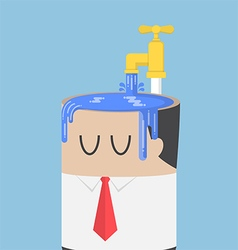 Businessman fill water into his head vector