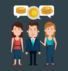 businesspeople group with bitcoins vector image