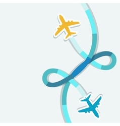 Card with two planes and colored trace them vector