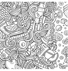 cartoon doodles diet food frame line art vector image