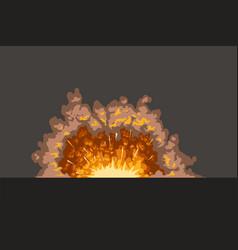 Cartoon explosion on dark surface vector