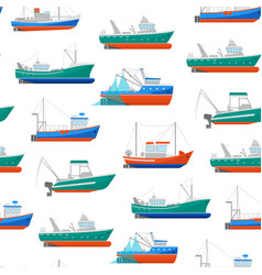 cartoon fishing boats seamless pattern background vector image