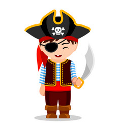 cartoon pirate cute little kid in costume vector image