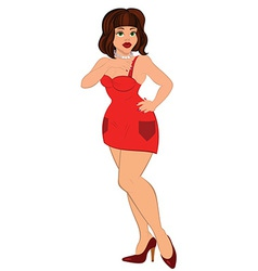 Cartoon sexy woman in mini red dress vector image
