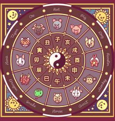 Chinese zodiac circle vector