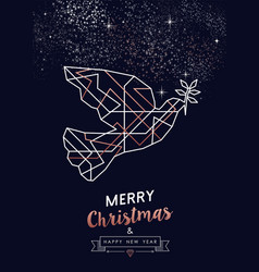 christmas and new year copper outline bird card vector image