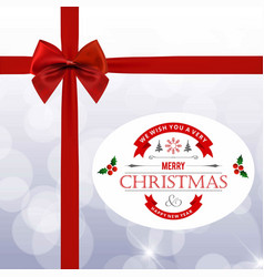 christmas card with red bow and gift box vector image