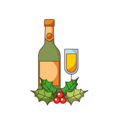 christmas champagne bottle glass holly berry vector image