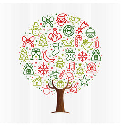 christmas tree made xmas outline icon ornaments vector image