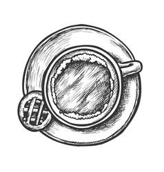coffee in cup on plate and cookie retro vector image