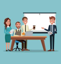Color background teamwork executive in desk for vector