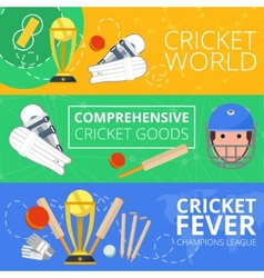 Cricket horizontal banners flat vector