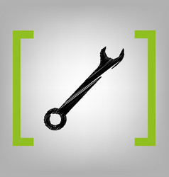 crossed wrenches sign black scribble icon vector image