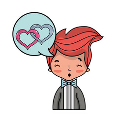 Cute man with hairstyle and chat bubble vector