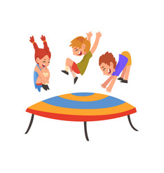 cute smiling boys and girl jumping on trampoline vector image