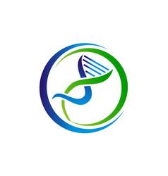 Dna lab logo design template vector