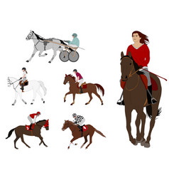 equestrian sports harness racing horse vector image