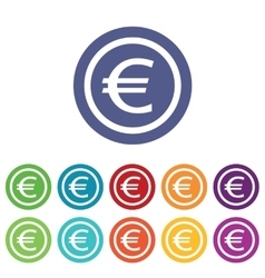 Euro signs colored set vector image