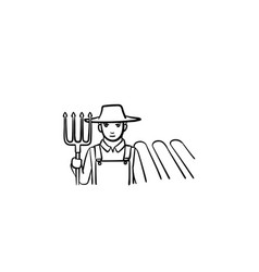 Farmer with fork hand drawn sketch icon vector