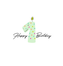 First birthday dino candle card design template vector