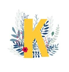 Floral alphabet letter k vector
