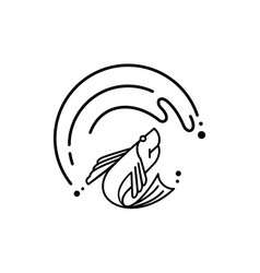 fresh fish jump under the great wave logo vector image
