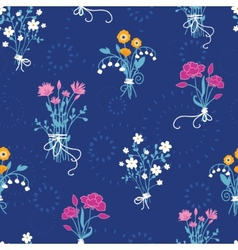 Fresh flower bouquets seamless pattern background vector image