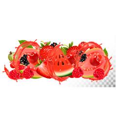 fruit in juice splash background strawberry vector image