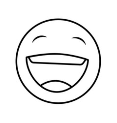 Funny happy emoticon icon vector