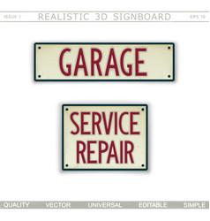 Garage service repair 3d signboard top view vector