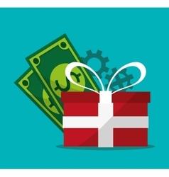 Gift bills gears and digital marketing design vector