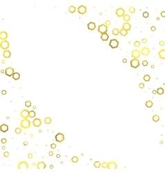 Gold glittering foil hexagons on white background vector