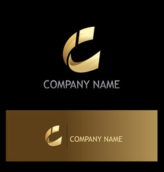 Gold shape letter c company logo vector